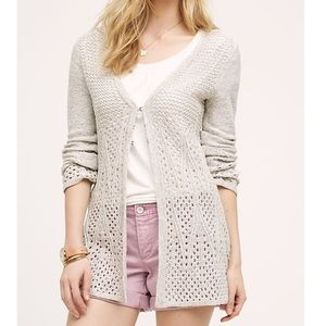 Anthro. Knitted & Knotted Bella Pointelle Cardigan